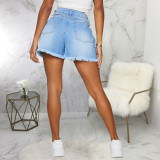 Plus Size Denim Ripped Hole Jeans Shorts HSF-2425
