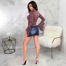 Plus Size Denim Ripped Bodycon Mini Skirt HSF-2420