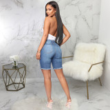 Denim Ripped Hole High Waist Jeans Shorts HSF-2410