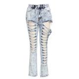 Denim Ripped Hole High Waist No Stretch Jeans HSF-2293