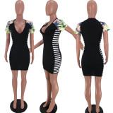 Fashion Printed Splice Short Sleeve Mini Dress XSF-6037