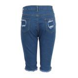 Denim Ripped Hole High Waist Half Length Jeans HSF-2284