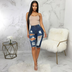 Denim Ripped Hole High Waist Half Length Jeans HSF-2411