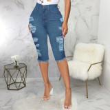 Denim Ripped Hole High Waist Capri Jeans HSF-2400
