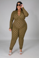 Plus Size Hollow Out Long Sleeve Jumpsuits OSM2-5279