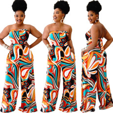 Tube Top Backless Printed Wide-leg Jumpsuit YIDF-1297