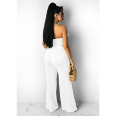 Sexy Solid Halter Crop Top Wide Leg Pants 2 Piece Sets IV-8201