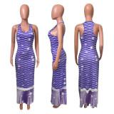 Fish Scales Print Sleeveless Maxi Dress NIK-231