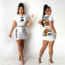 Queen Letter Poker Print Short Sleeve Mini Skirt 2 Piece Sets GHF-024
