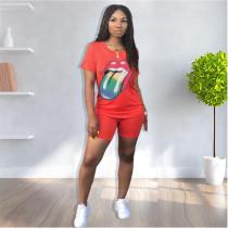 Fashion Casual Tongue Print T-shirt Shorts Two Piece Sets MUM-8083