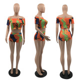 Sexy Printed Slash Neck Two Piece Short Sets QSF-5069