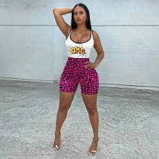 Slim Casual Sports Yoga Leopard Print Rompers MEM-8345