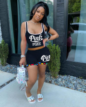 Pink Letter Print Tank Top And Shorts 2 Piece Sets AYF-8010