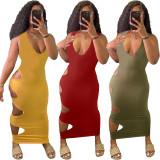 Sexy Solid Sleeveless Hole Maxi Dress QHF-8629
