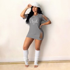 Casual Fashion PINK Letter Printed Hole Mini Dress YMT-6207