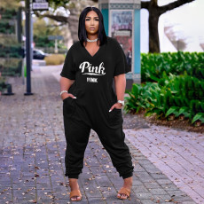 Pink Letter Print V Neck Casual Jumpsuit AWN-5204