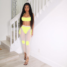 Sexy Casual Mesh Splice Two Piece Sets YM-9280