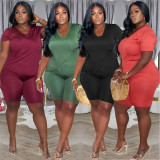 Fashion Solid Color Plus Size 5XL Casual Two Piece Sets WAF-7161