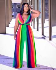 Fashion Sexy Rainbow Stripes Jumpsuit MN-9299