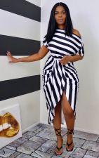 Fashion Plus Size Casual Striped Tie Dye Print Dress WAF-7166