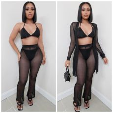 Fashion Sexy Mesh Perspective Four Piece Set LSL-6430