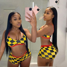 Sexy Plaid Print Swimwear Bikinis 2 Piece Sets YAOF-8020