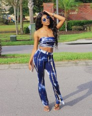 Fashion Sexy Tie-dye Tube Top Flared Pants Two Piece Sets WUM-2331