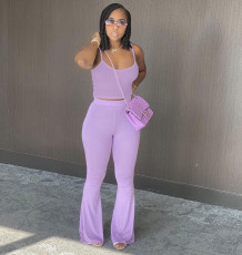 Solid Color Camisole Flared Pants Casual Suit LQ-017