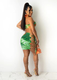 Sexy Printed Crop Top Lace Up Mini Skirt 2 Piece Sets JRF-3608