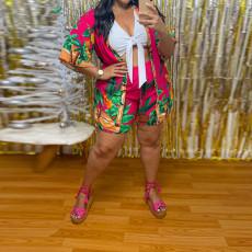 Plus Size Printed Vest Top+Cloak Coat+Shorts 3 Piece Sets CYA-1451