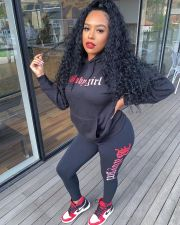 Letter Print Hoodies Pants Two Piece Suits JRF-3572