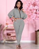 Casual Solid Long Sleeve Two Piece Pant Sets JRF-3584