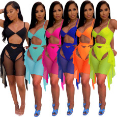 Sexy Solid Ruffled Swimsuit 2pcs Beachwear MIL-210