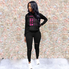 Casual Letter Print Hole Hoodies Pant 2 Piece Suits JRF-3581
