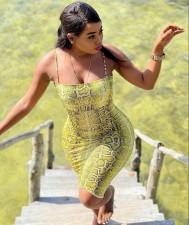Sexy Snake Skin Print Spaghetti Strap Bodycon Dress LM-8230