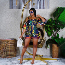 Floral Print Sexy Off Shouder Strap Romper YAOF-8008