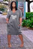 Plus Size PINK Letter Print V-neck Fashion Casual Midi Dress ARM-8261