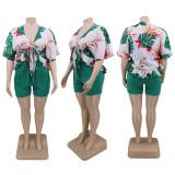 Plus Size Floral Print Half Sleeve 2 Piece Short Sets CYA-1448
