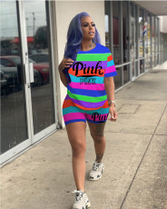 Pink Letter Print Colorful Striped Two Piece Suits JRF-3594