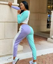 Contrast Color Long Sleeve Two Piece Pants Set JRF-3587