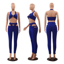 Sexy Solid Vest Top Hollow Pants Two Piece Suits LSF-9077