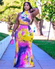 Tie Dye Print Sleeveless Maxi Skirt 2 Piece Sets OD-8442
