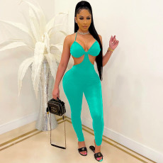 Solid Color Sling Sexy Slim Backless Jumpsuits MIF-9049