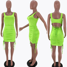 Fashion Sexy Solid Color Ruched Sleeveless Mini Dress XSF-6039