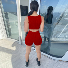 Solid Sleeveless Slim Fit Two Piece Short Sets GLF-8163