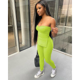 Solid Ribbed Tube Top And Pants Tight 2 Piece Suits IV-8207