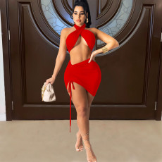 Sexy Halter Crop Top Mini Skirt 2 Piece Sets FOSF-8049