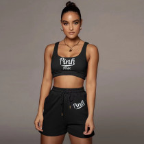 Pink Letter Print Sports Two Piece Short Sets CQF-955