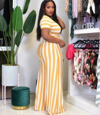 Plus Size Casual Striped Short Sleeve 2 Piece Sets TCF-068