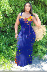 Ink Jet Print Sleeveless Maxi Dress KSN-8082